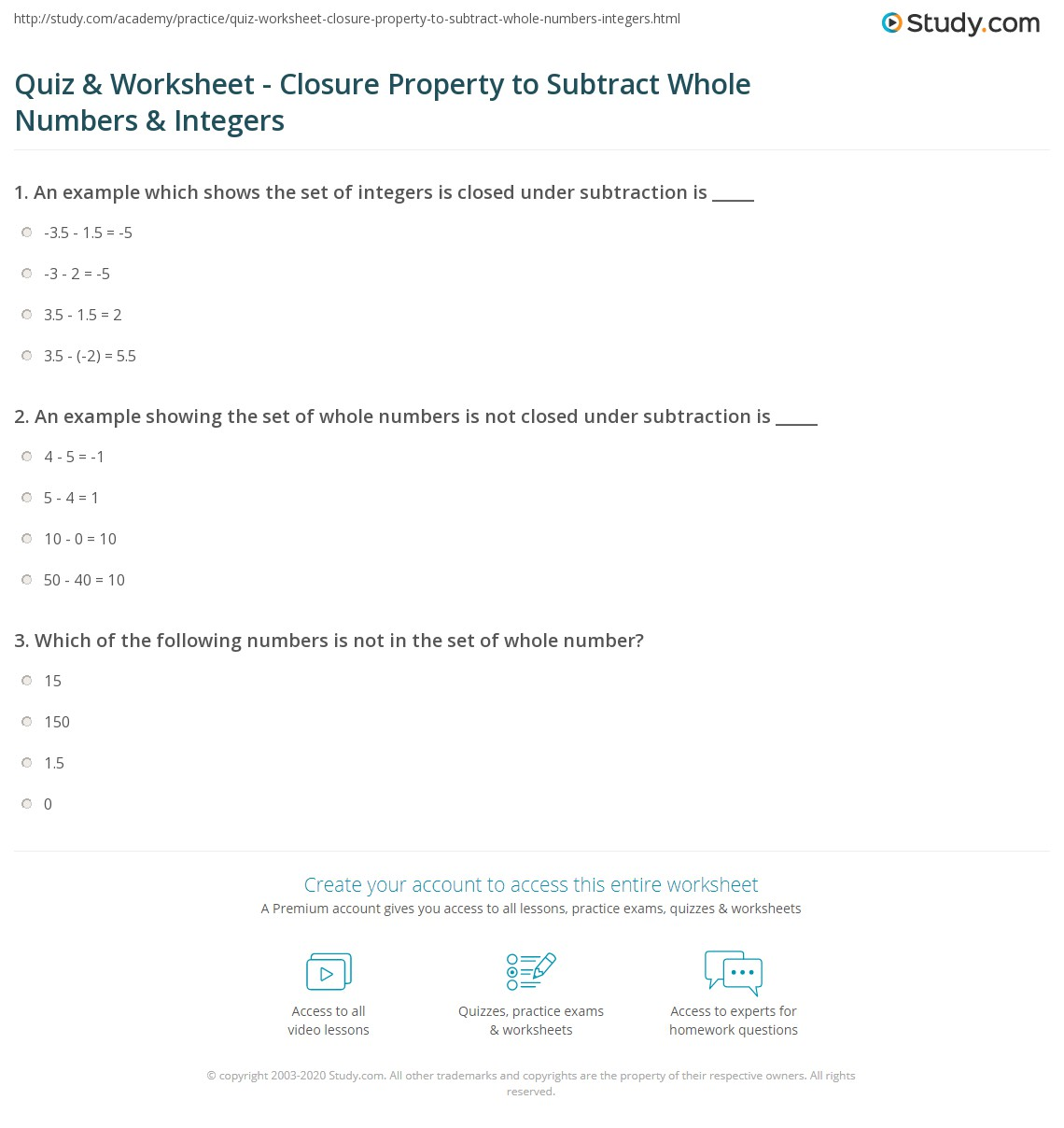 Quiz Worksheet Closure Property to Subtract Whole Numbers – Subtracting 0 1 2 Worksheets