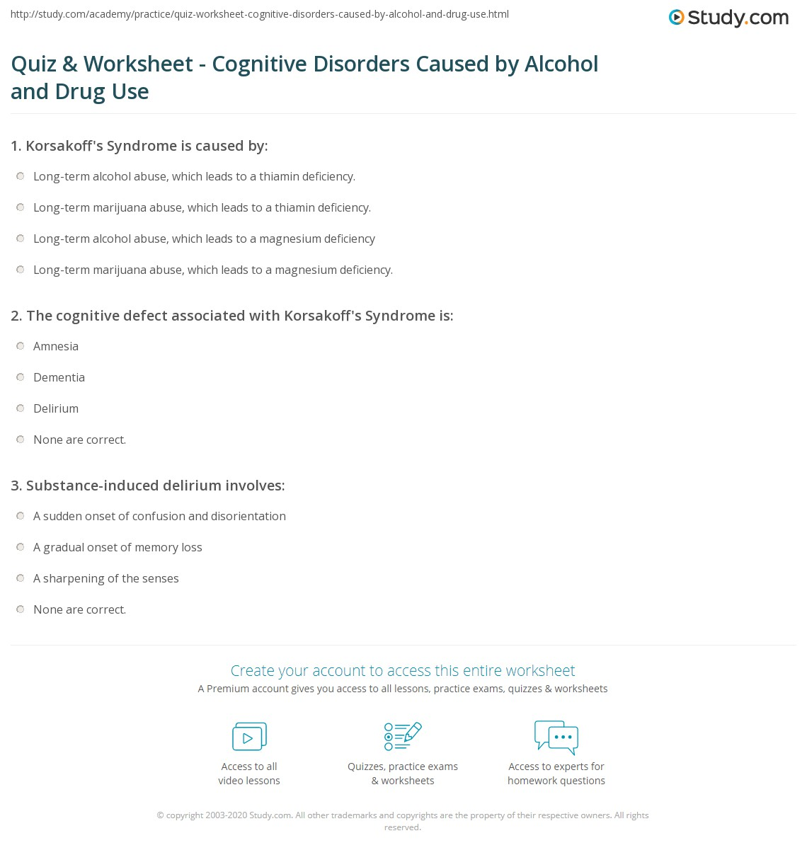 Alcohol and Drug-Induced Cognitive Disorders: Types, Causes & Symptoms