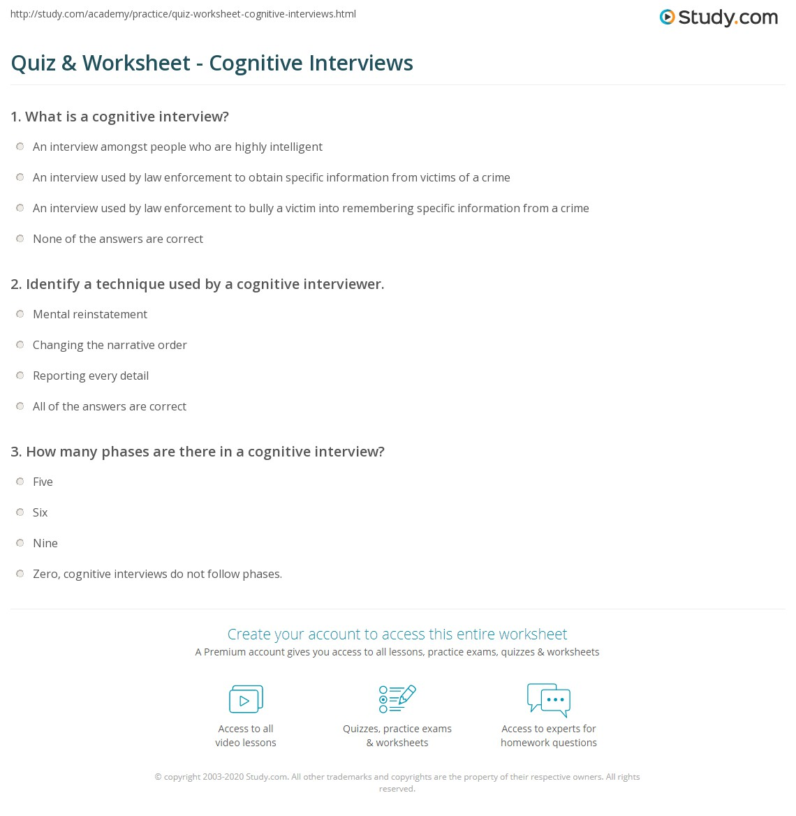 quiz worksheet cognitive interviews com print what is a cognitive interview questions techniques evaluation worksheet