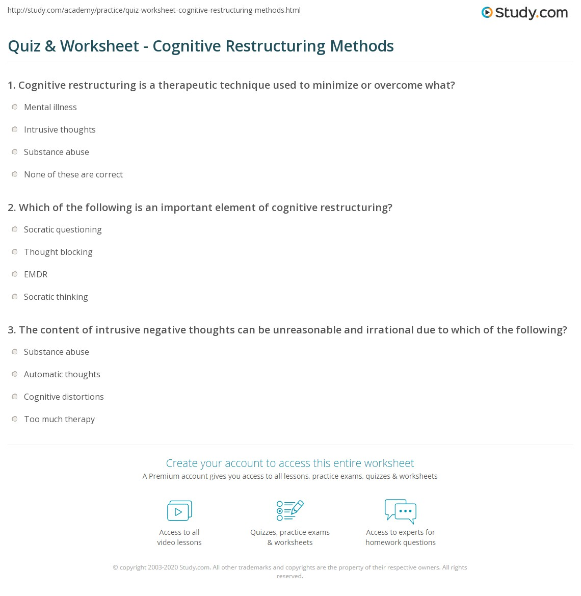 Quiz Worksheet Cognitive Restructuring Methods – Irrational Thoughts Worksheet