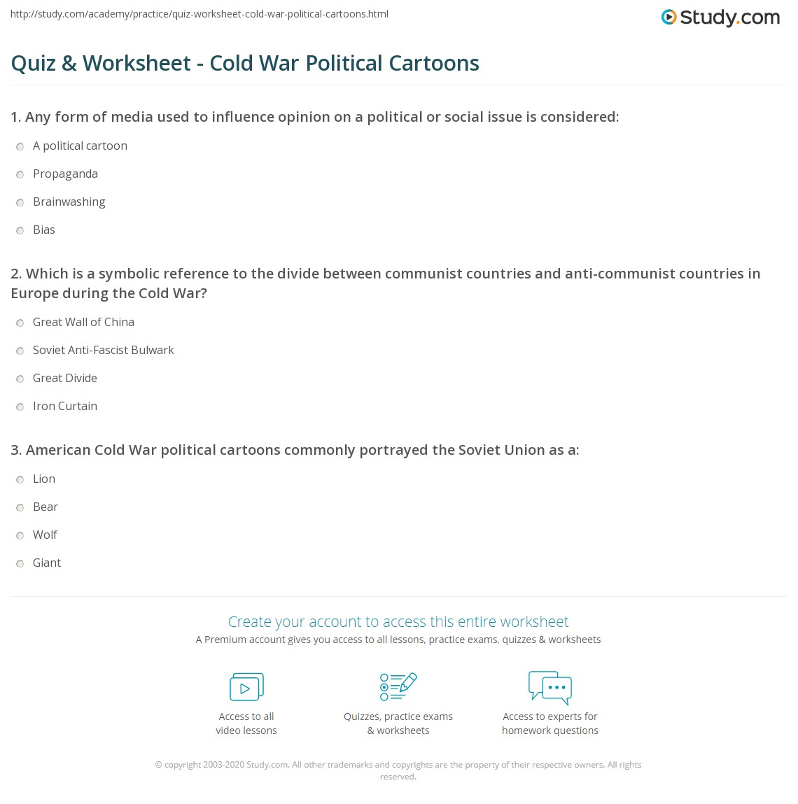 Quiz Worksheet Cold War Political Cartoons – Political Cartoon Analysis Worksheet