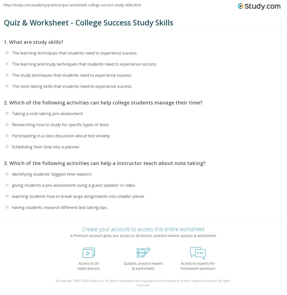 study guide templates for college students