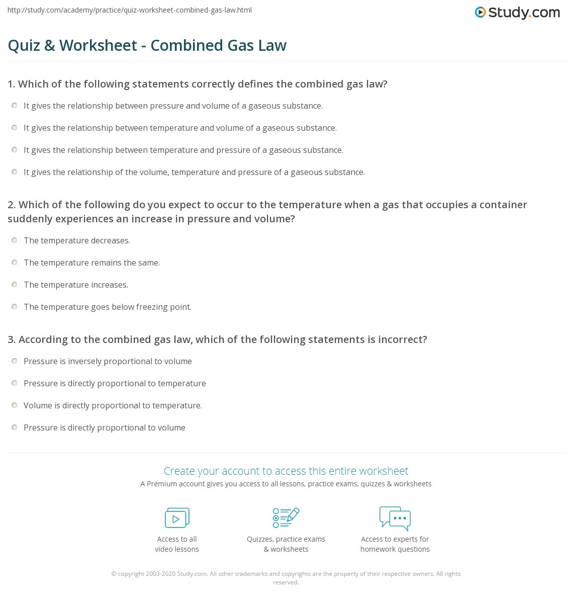 Quiz & Worksheet - Combined Gas Law | Study.com
