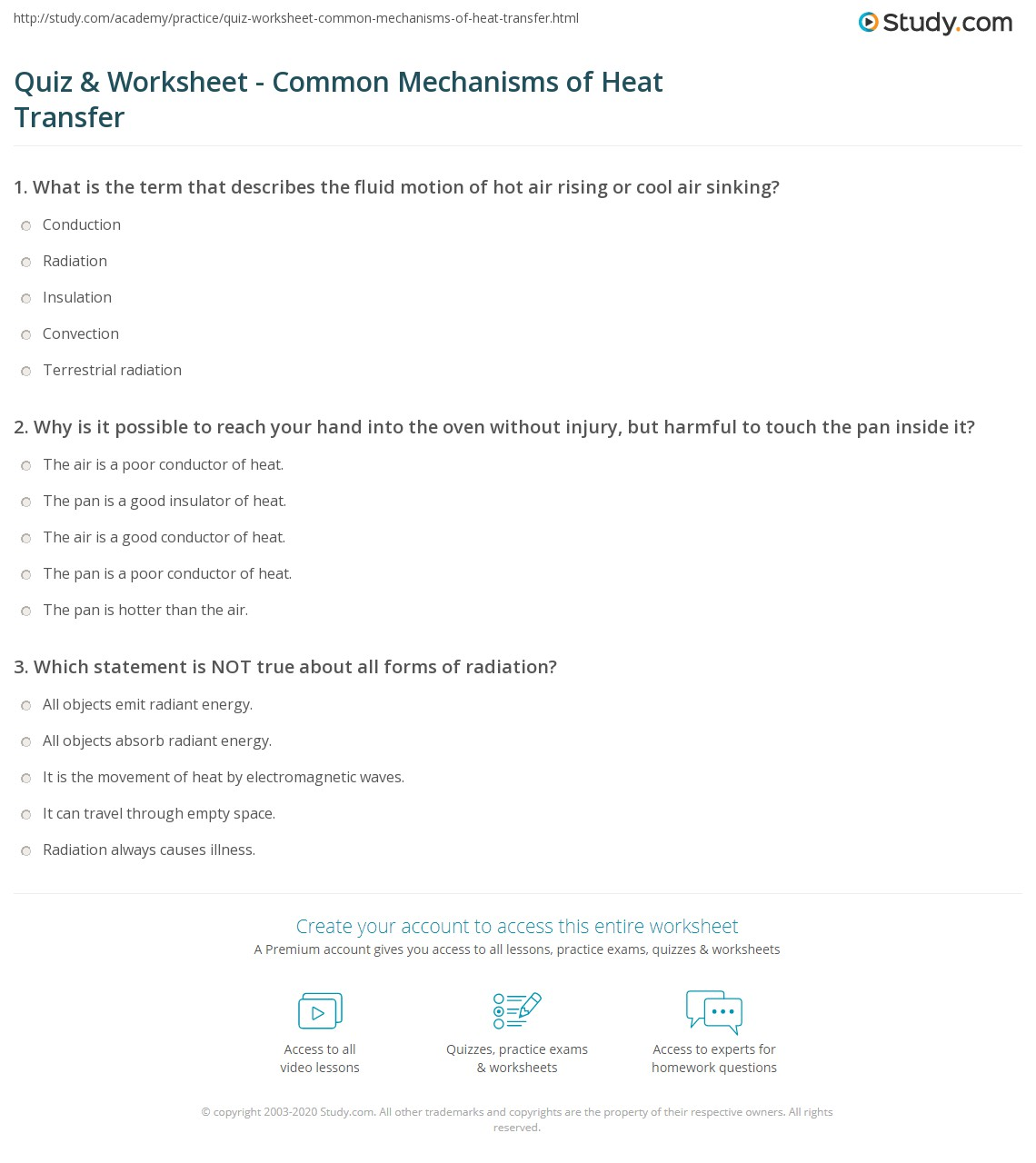Quiz Worksheet Common Mechanisms of Heat Transfer – Heat Transfer Worksheets
