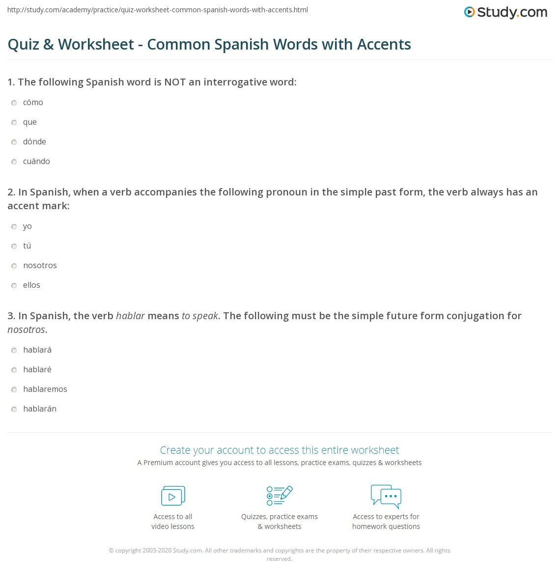 Worksheets Conversational Spanish Worksheets quiz worksheet common spanish words with accents study com print worksheet