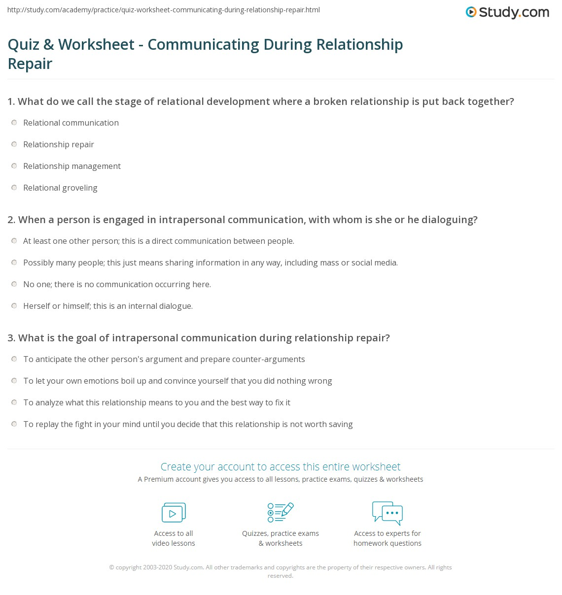 Quiz Worksheet Communicating During Relationship Repair – Relationship Worksheets