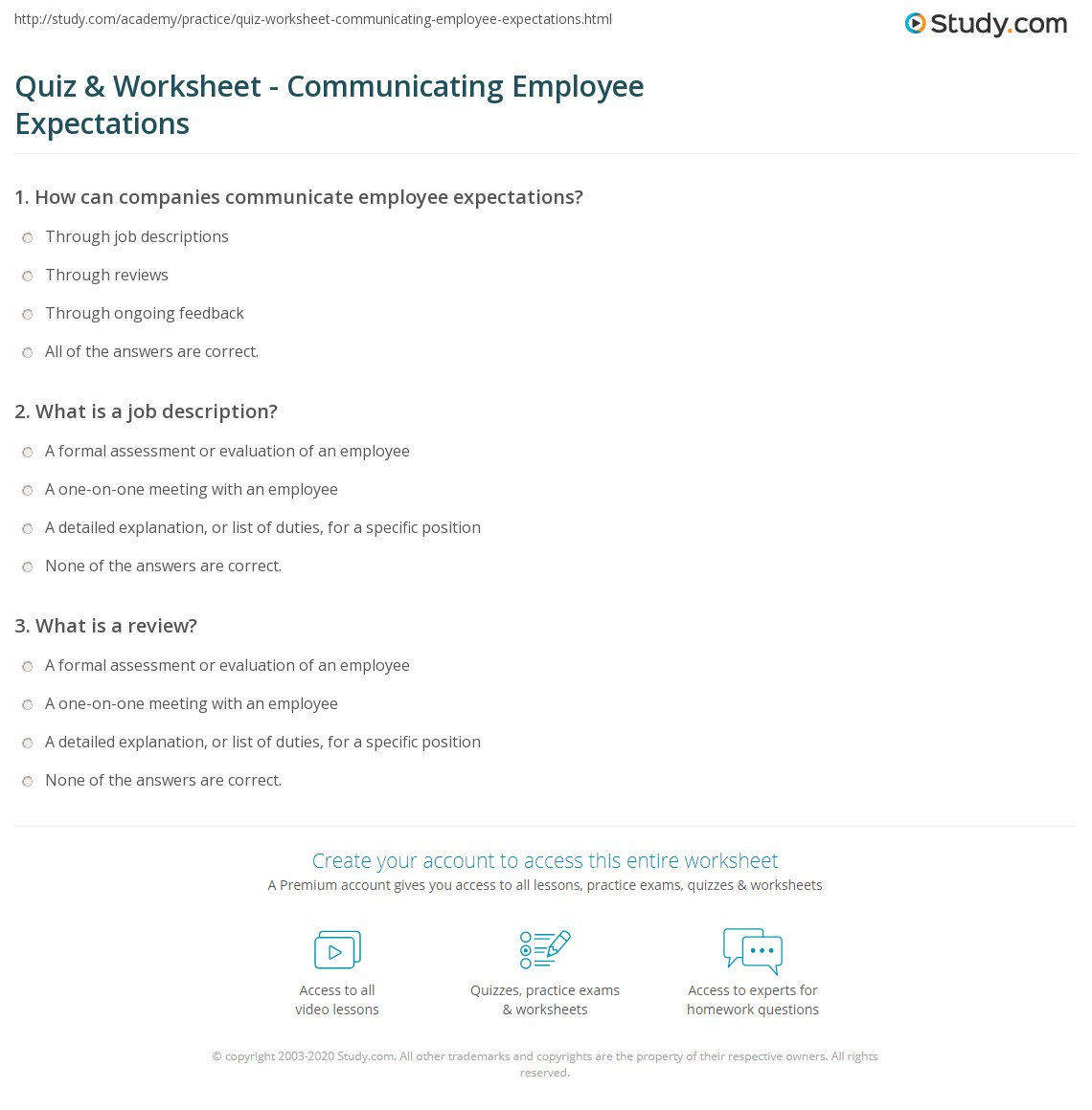 Quiz & Worksheet - Communicating Employee Expectations | Study.com