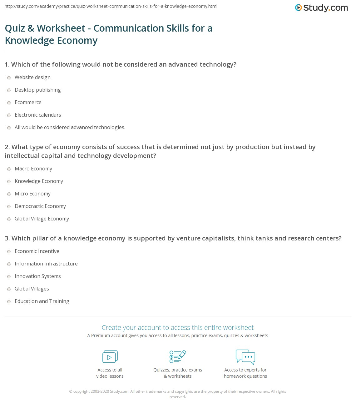 Printables Communication Skills Worksheets quiz worksheet communication skills for a knowledge economy print needed in worksheet