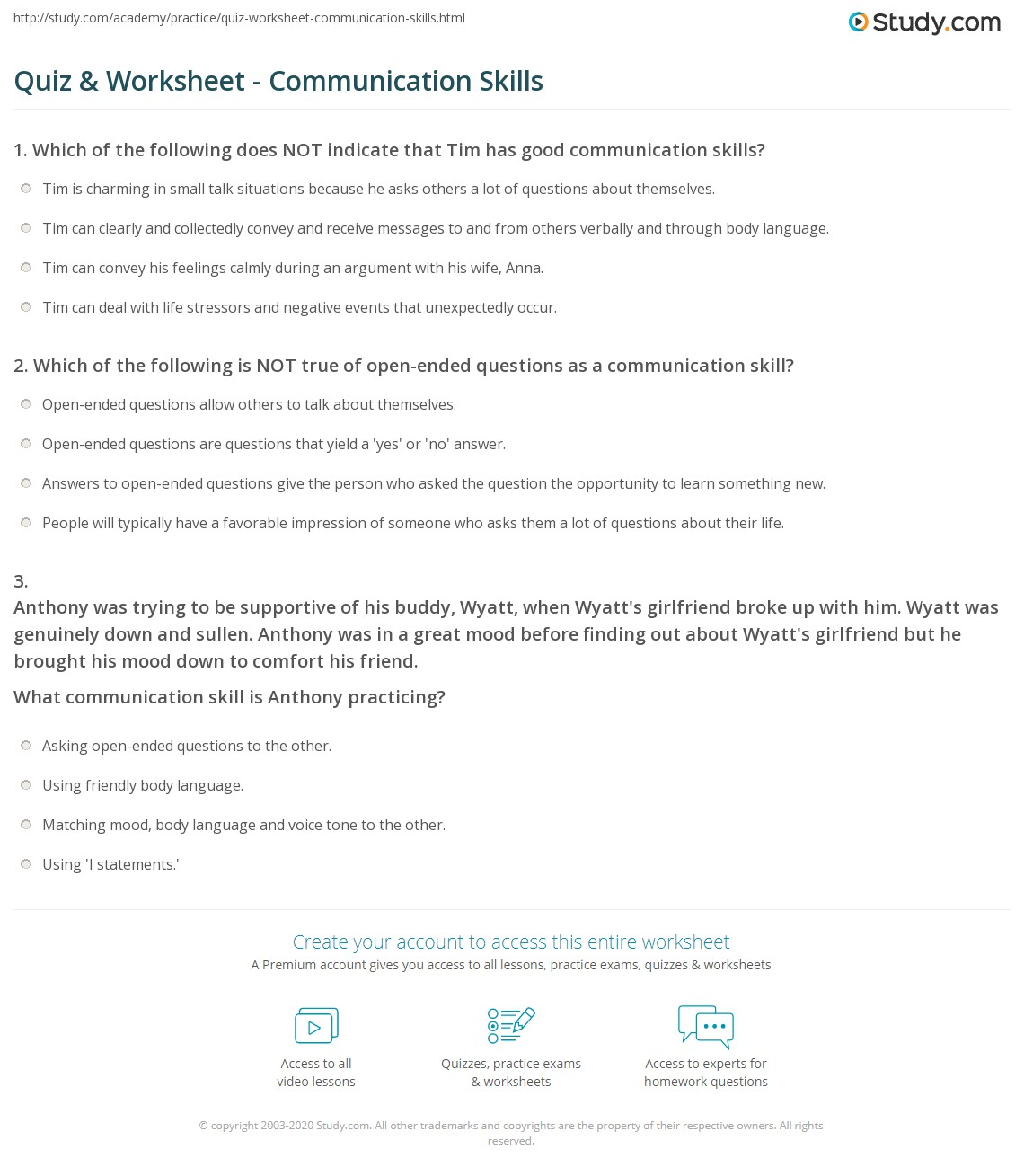 Quiz Worksheet Communication Skills – Finding Theme Worksheets