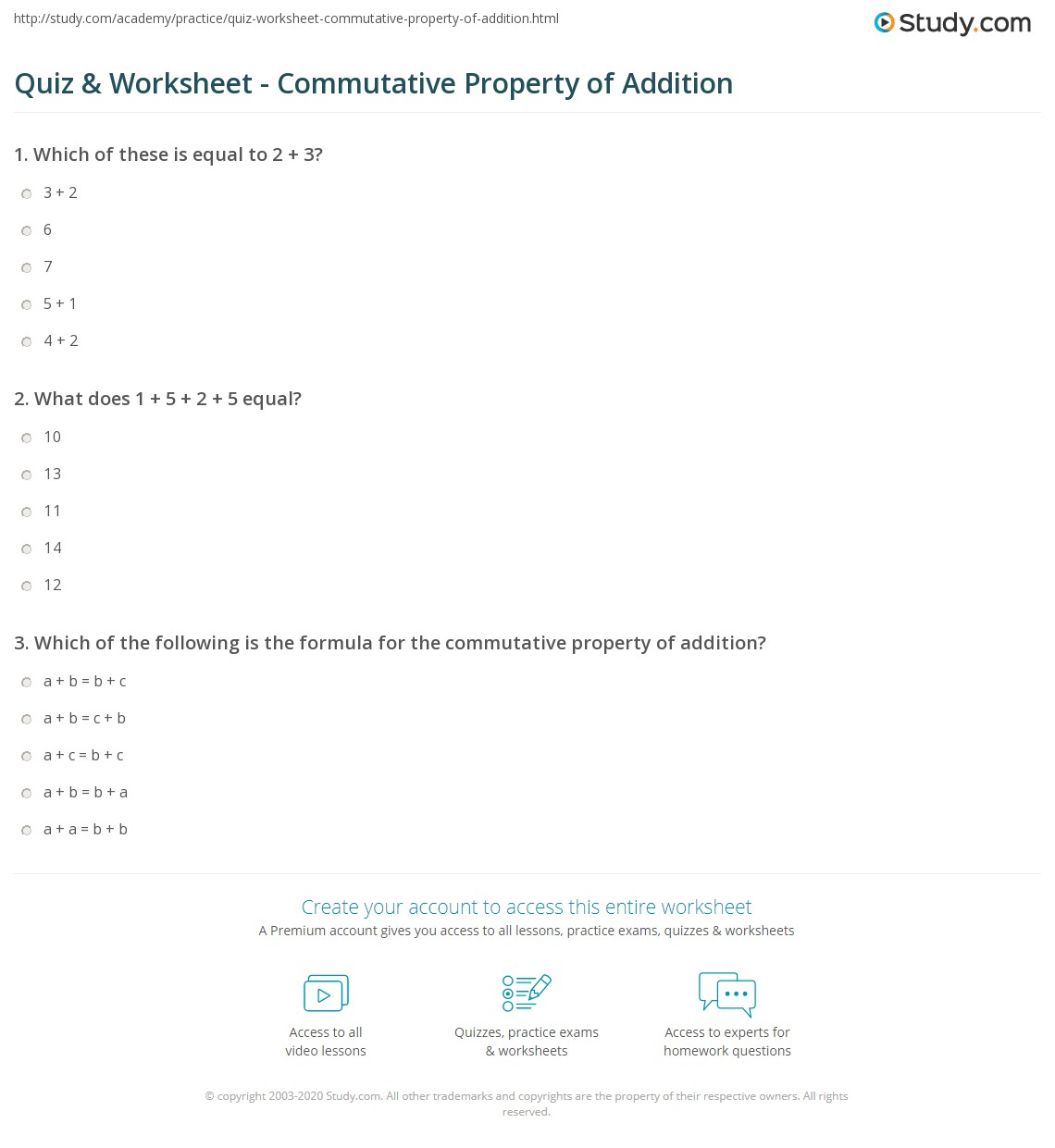 Quiz and Worksheet Commutative Property of Addition – Commutative Property of Addition Worksheet