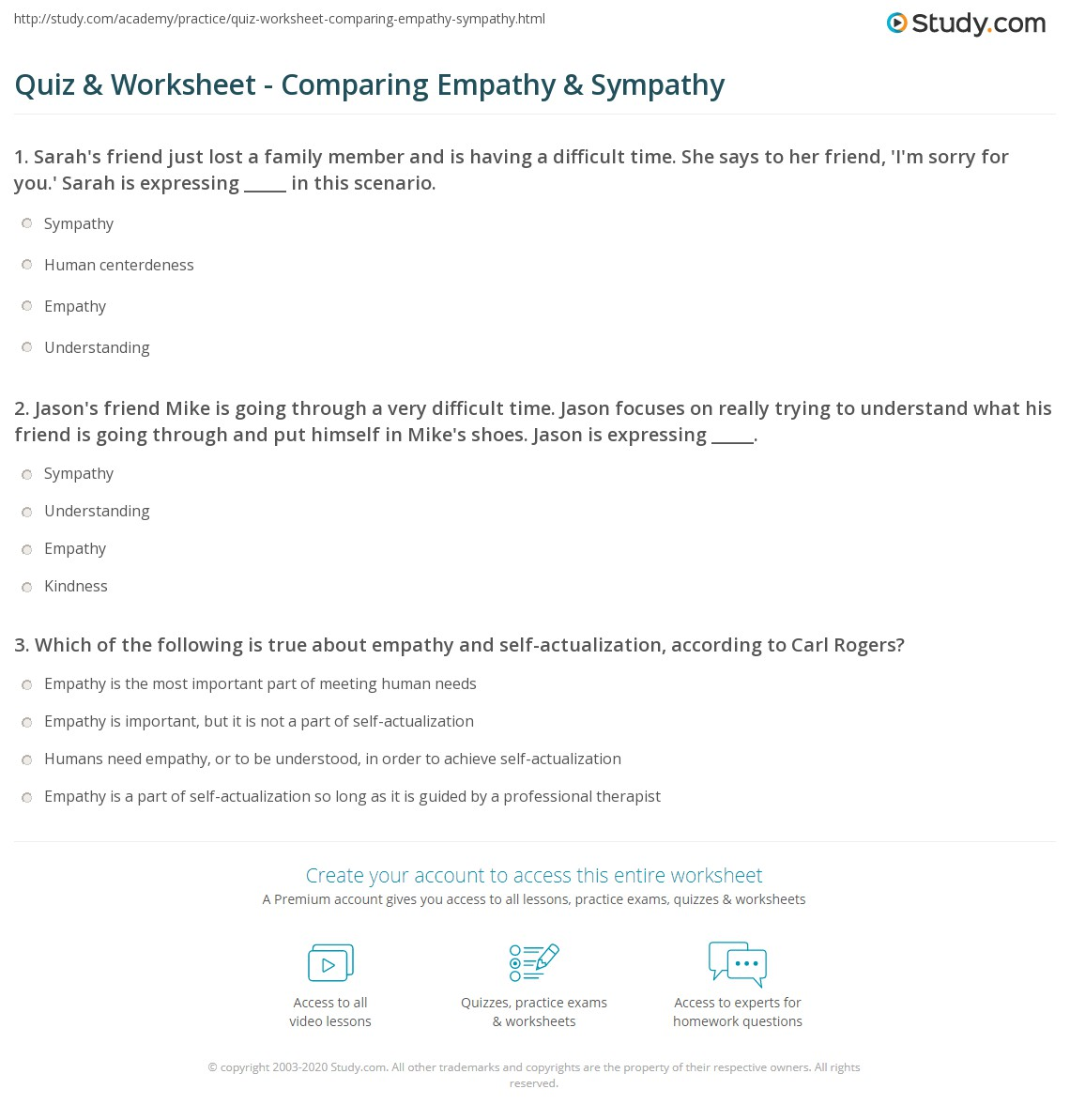 Free Worksheet Empathy Worksheets quiz worksheet comparing empathy sympathy study com 1 jasons friend mike is going through a very difficult time jason focuses on really trying to understand what his throug