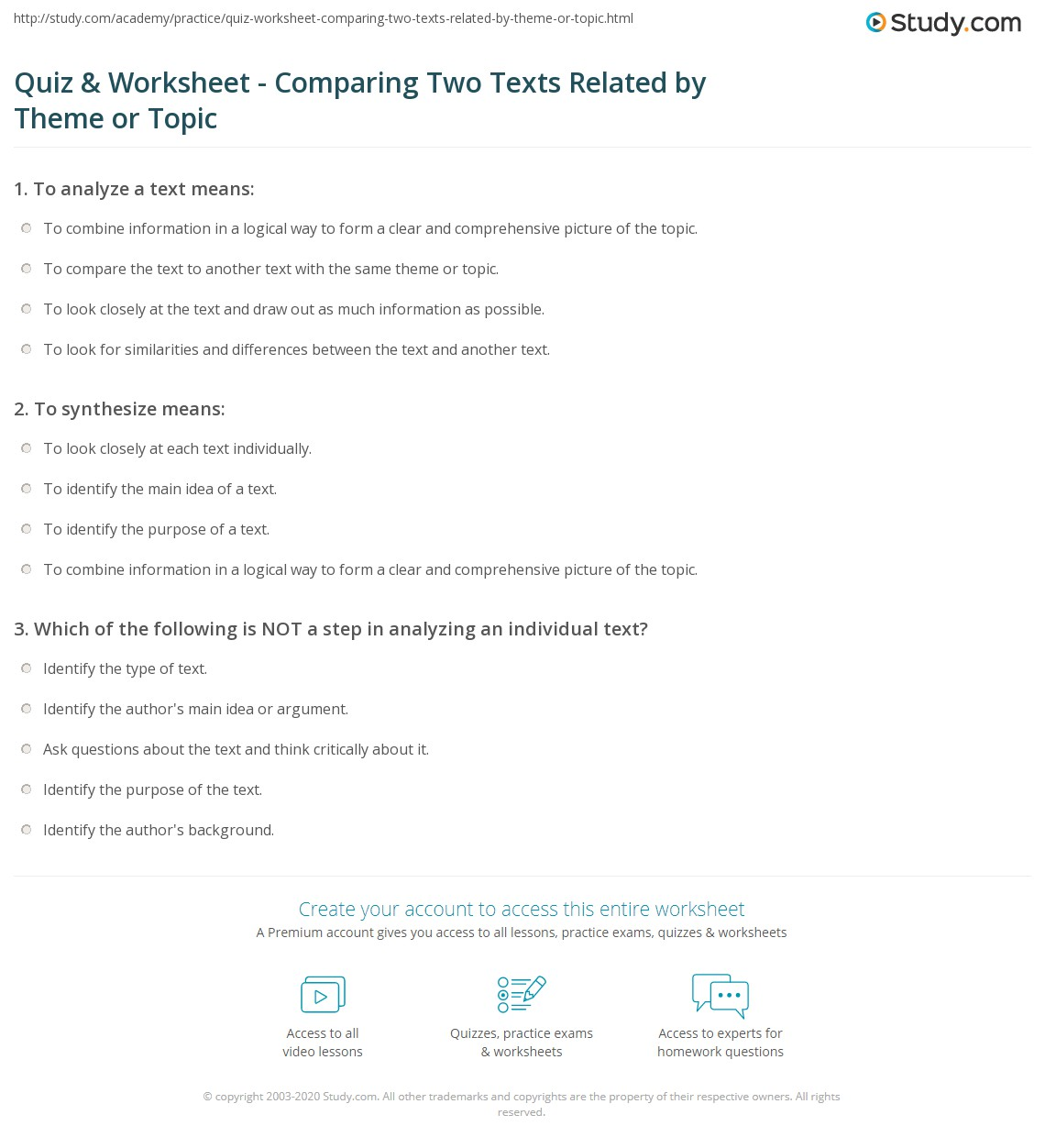 Quiz Worksheet Comparing Two Texts Related by Theme or Topic – Theme Worksheets Middle School