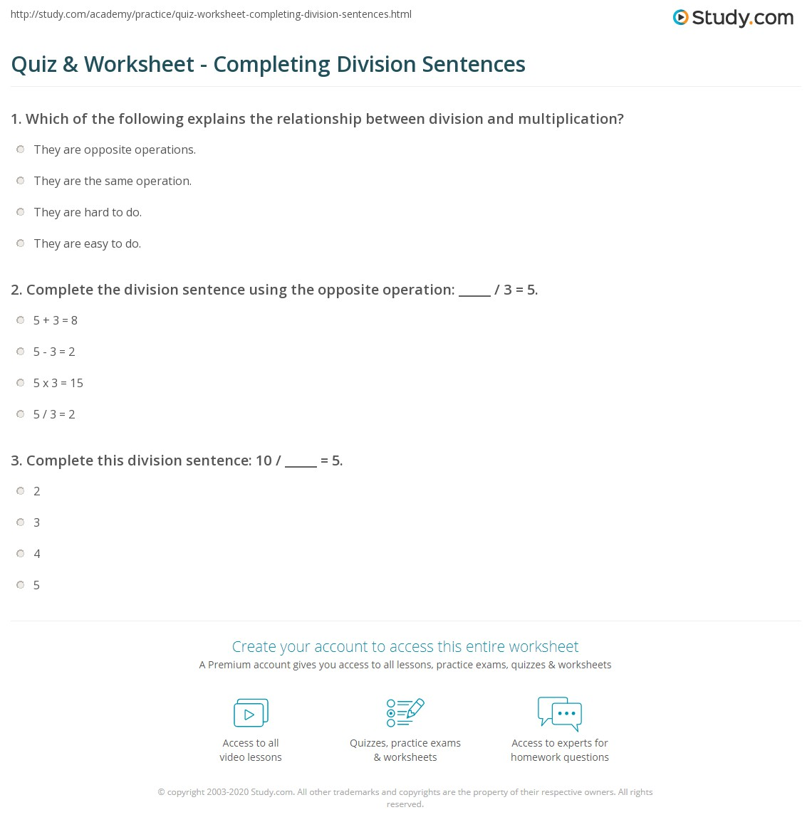 Uncategorized Sentence Completion Worksheets quiz worksheet completing division sentences study com print how to complete the sentence worksheet