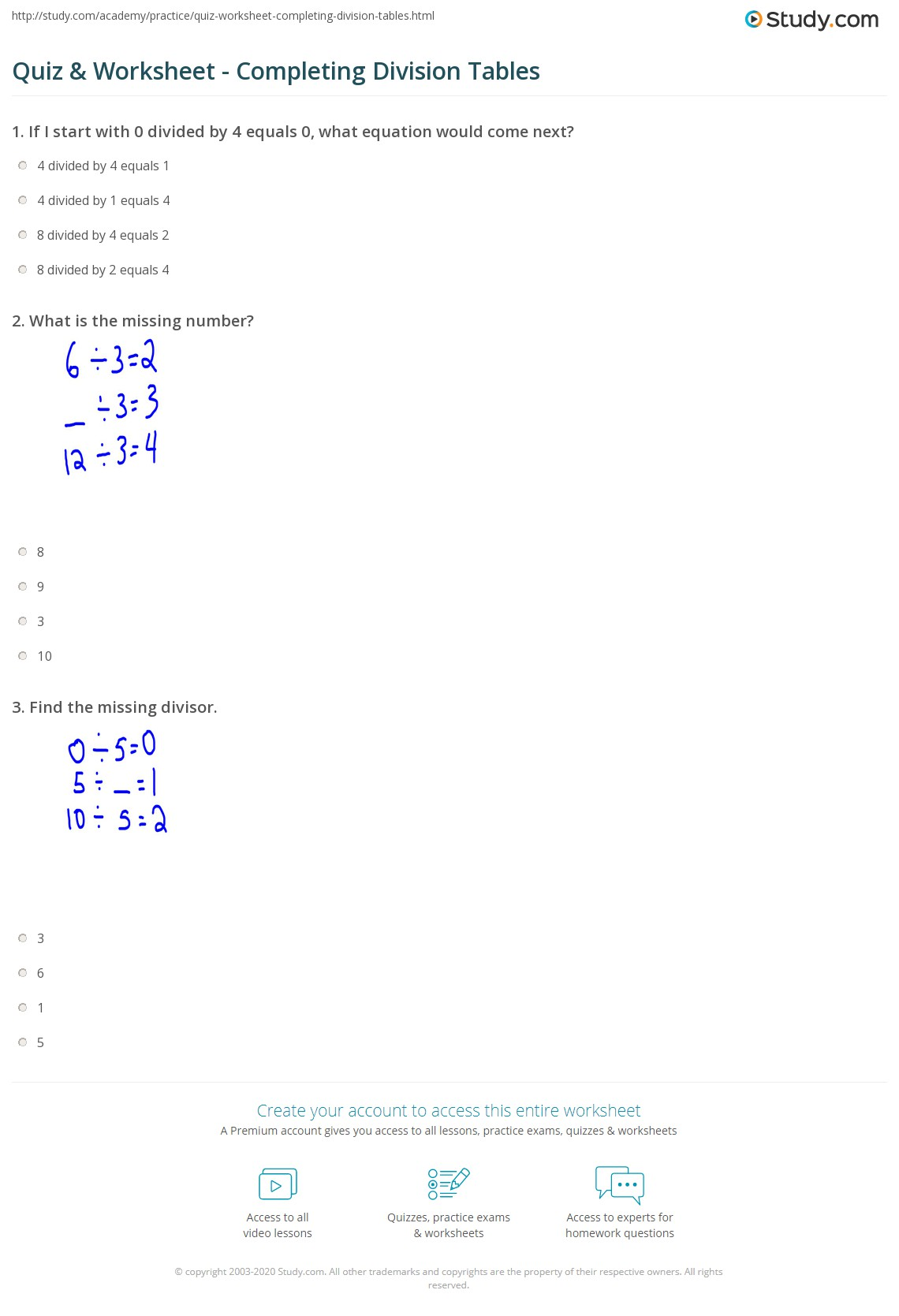 Quiz and Worksheet Completing Division Tables – Division Tables Worksheet
