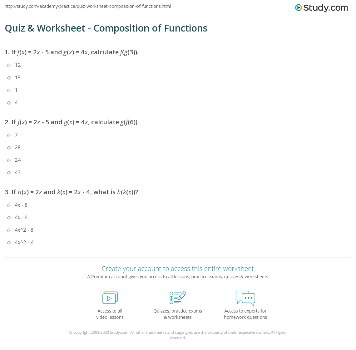 Quiz Worksheet Composition of Functions – Composition of Functions Worksheet