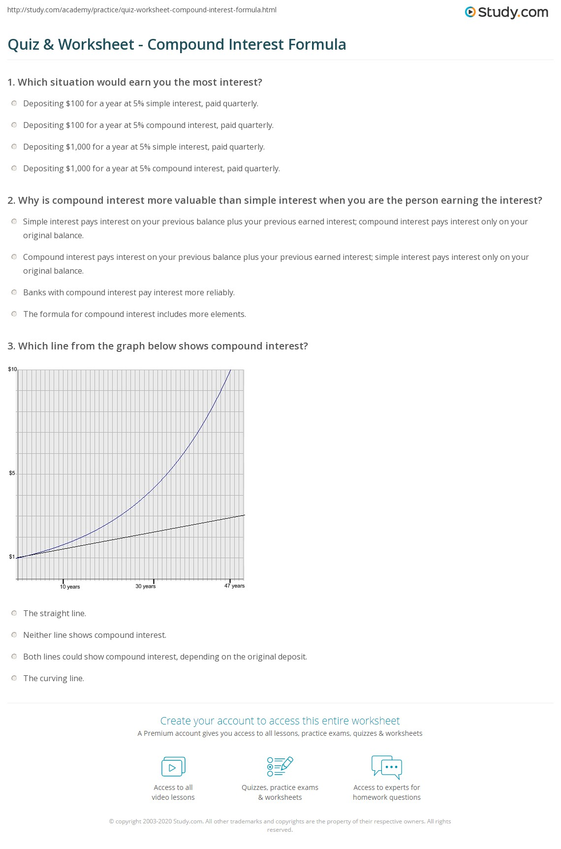 Quiz Worksheet Compound Interest Formula – Simple and Compound Interest Worksheet