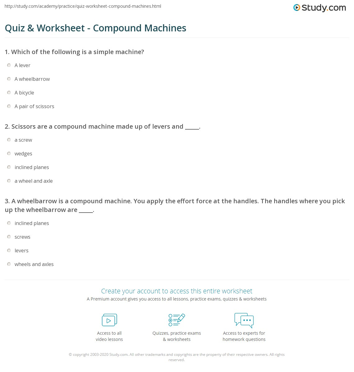 Printables Compound Machines Worksheet quiz worksheet compound machines study com print what is a machine definition examples worksheet