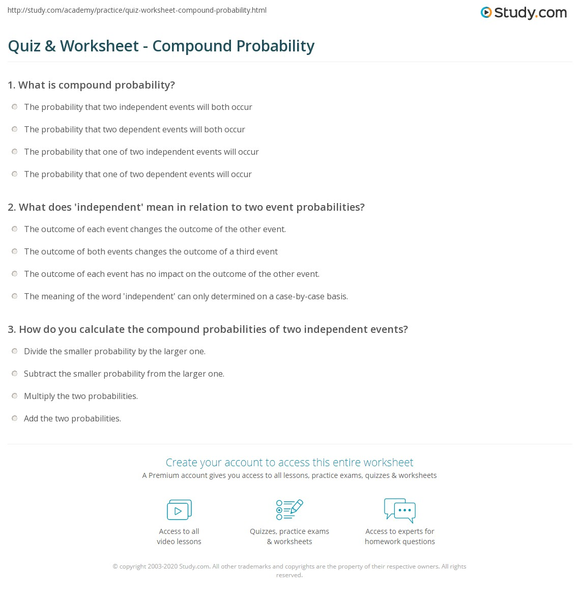 Probability Worksheets Doc worksheet compound probability – Probability Worksheets 6th Grade