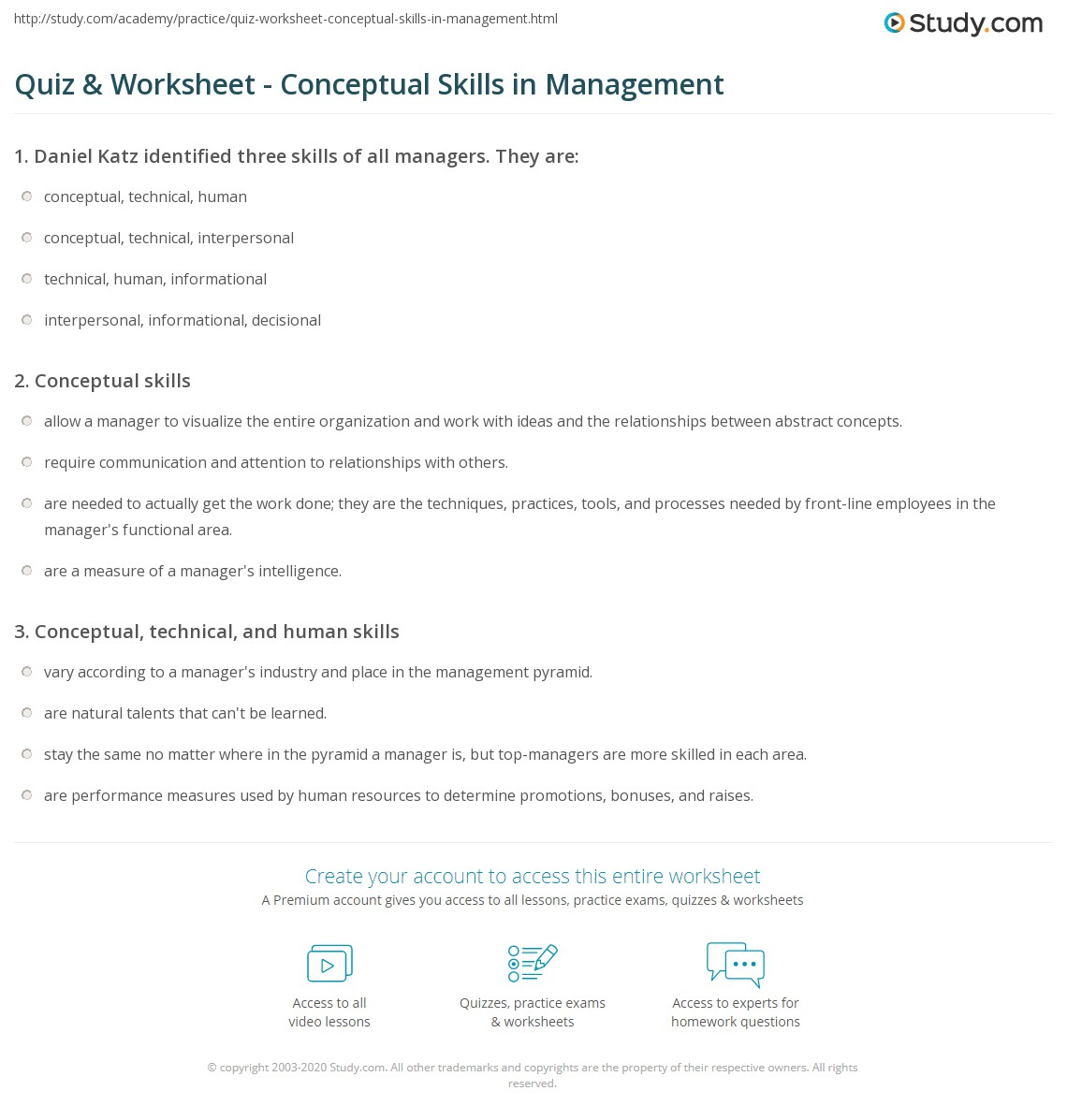 quiz worksheet conceptual skills in management com print what are conceptual skills in management definition examples worksheet