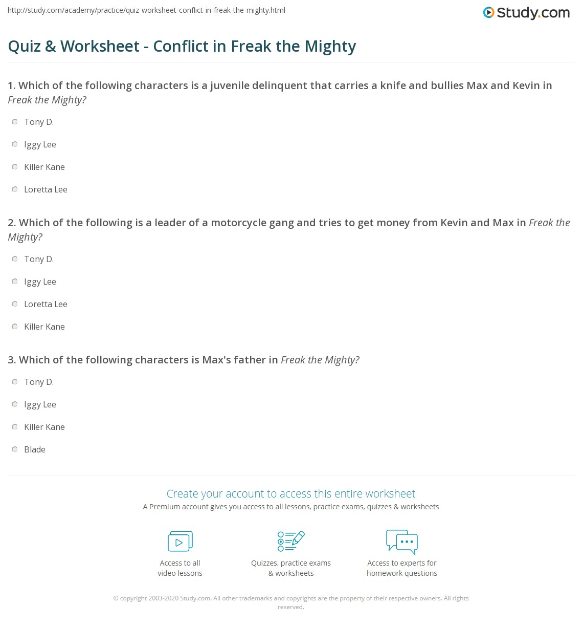Worksheets Freak The Mighty Worksheets quiz worksheet conflict in freak the mighty study com print worksheet