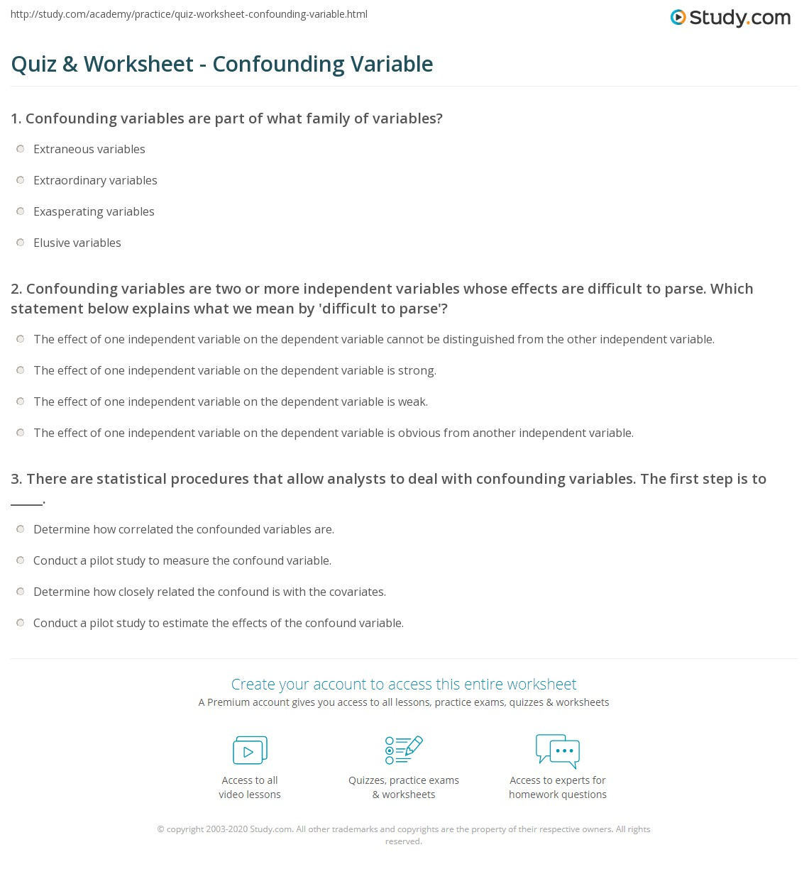 Printables Independent And Dependent Variables Worksheet Science quiz worksheet confounding variable study com print definition example worksheet