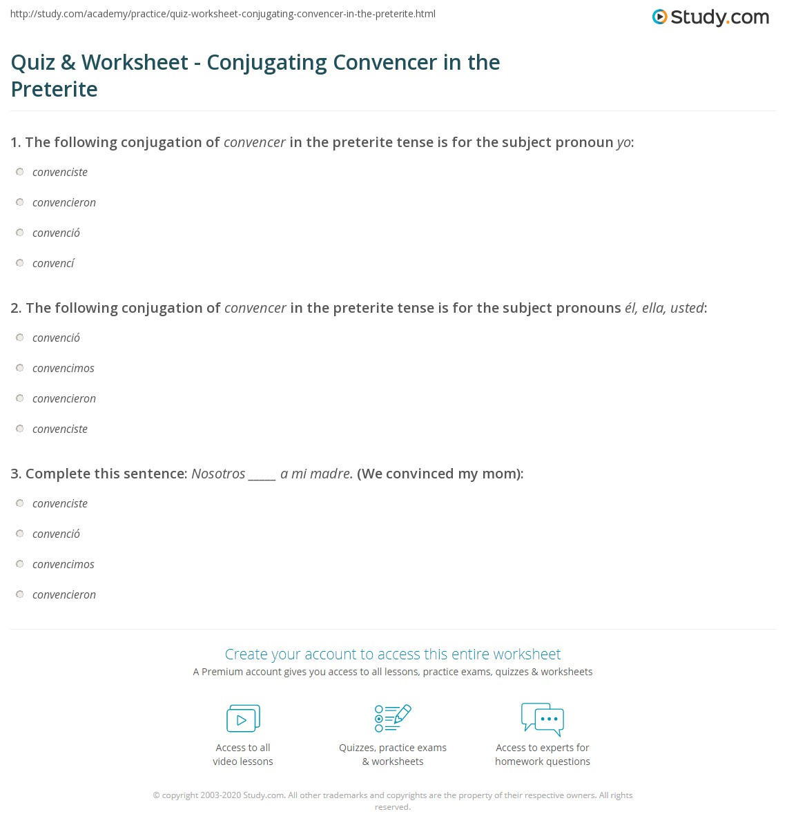 Quiz Worksheet Conjugating Convencer in the Preterite – Preterite Practice Worksheet