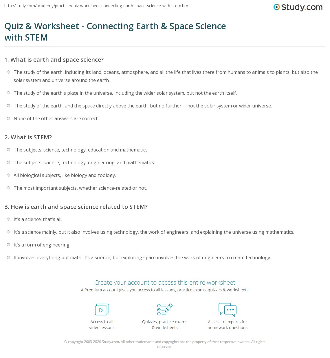Printables Earth And Space Science Worksheets quiz worksheet connecting earth space science with stem print relationship worksheet