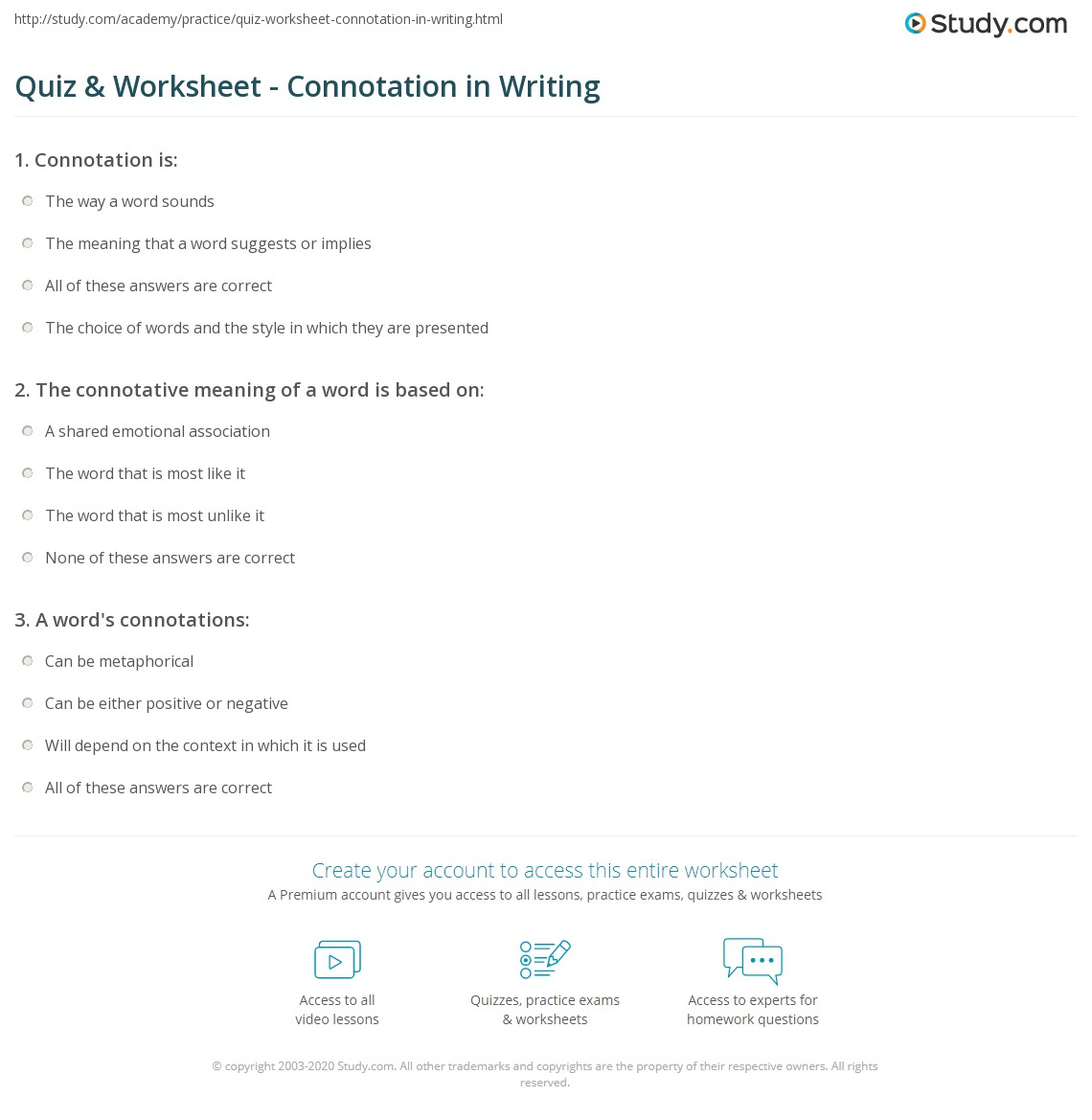 Quiz Worksheet Connotation in Writing – Connotation Worksheet