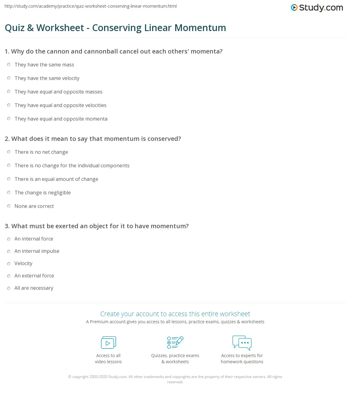 Printables Worksheet Conservation Of Momentum worksheet conservation of momentum davezan quiz amp conserving linear study com conservation
