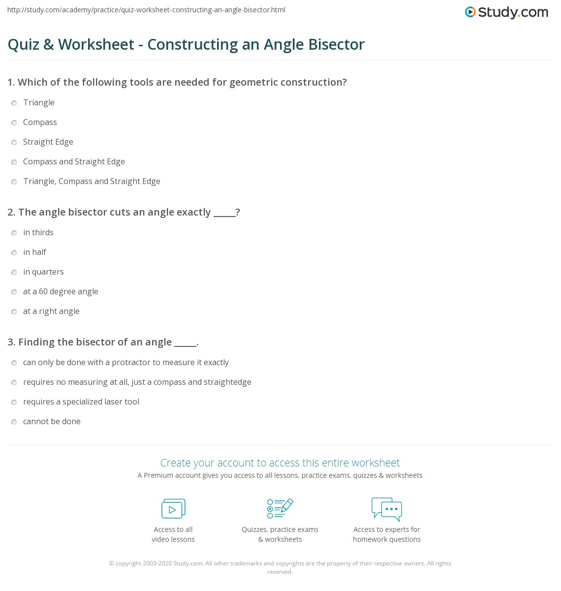 Quiz Worksheet Constructing an Angle Bisector – Constructing Triangles Worksheet