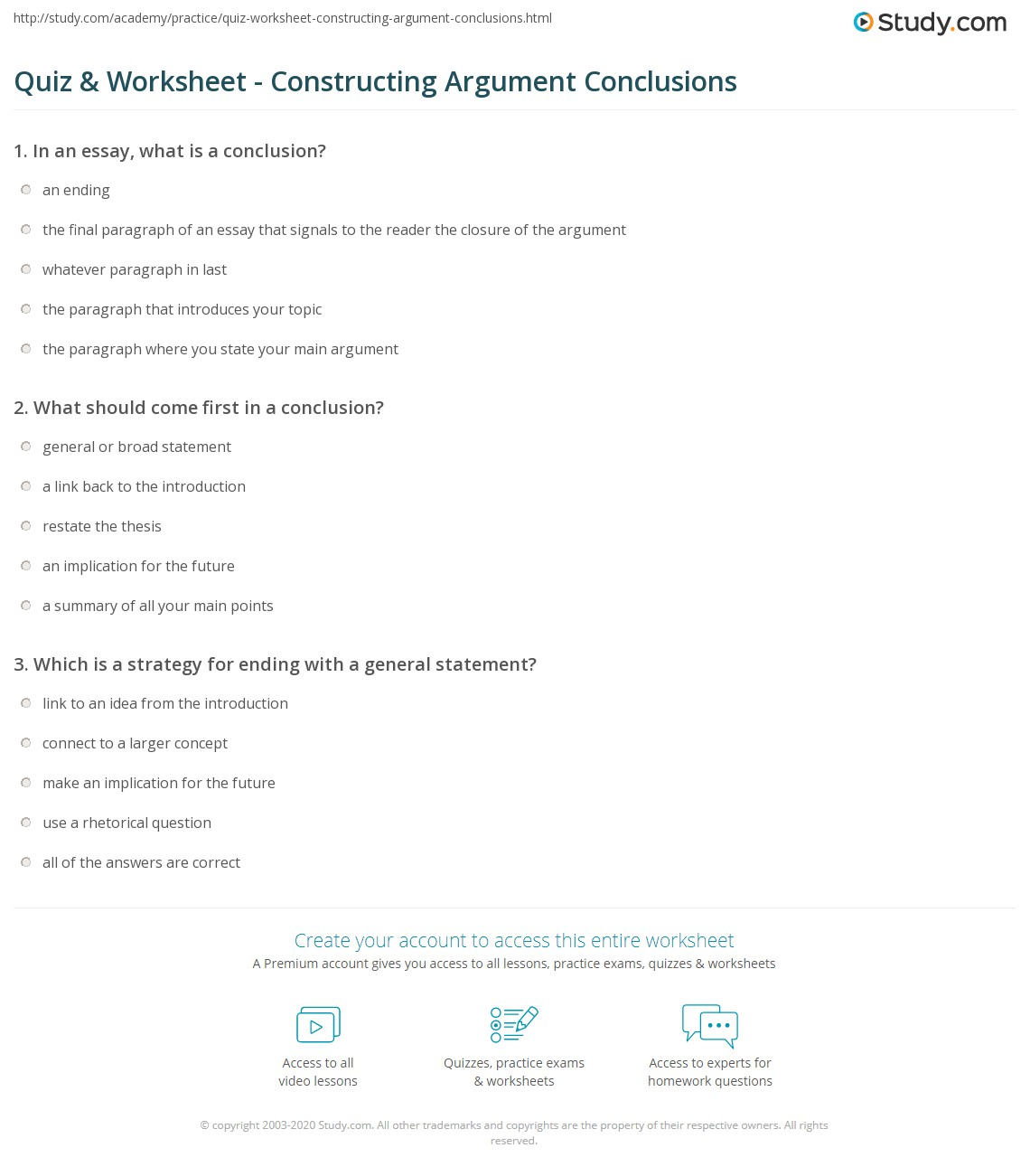 quiz worksheet constructing argument conclusions com print writing conclusions to arguments worksheet