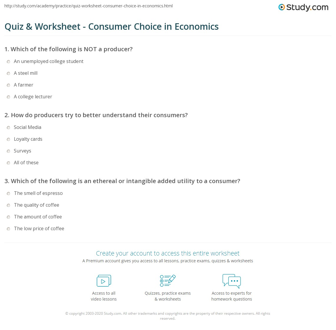 math worksheet : quiz  worksheet  consumer choice in economics  study  : High School Consumer Math Worksheets