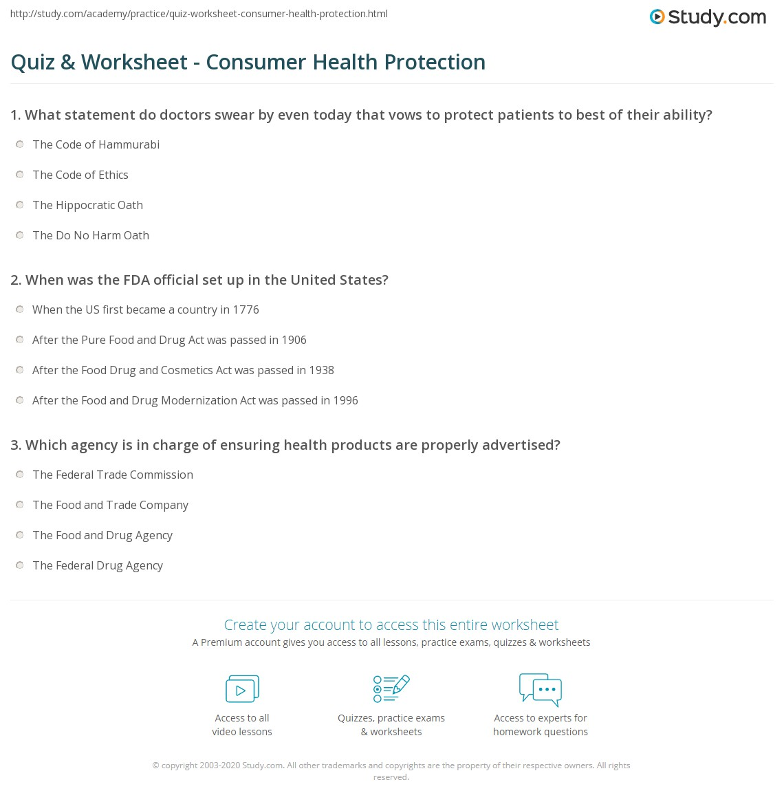 quiz worksheet consumer health protection study com already registered login here for access