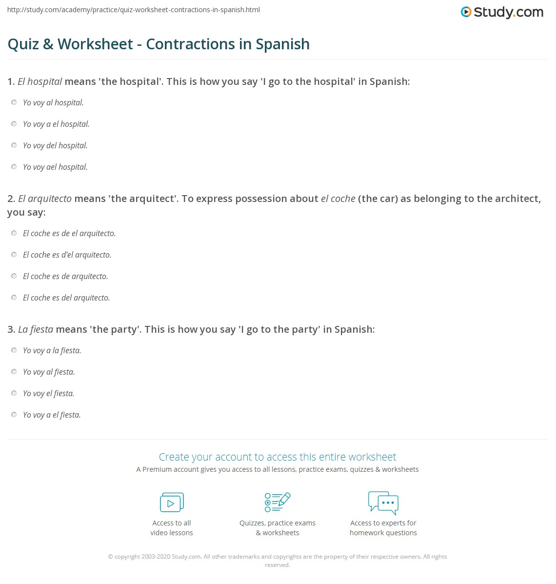 Spanish Contractions Worksheet Free Worksheets Library