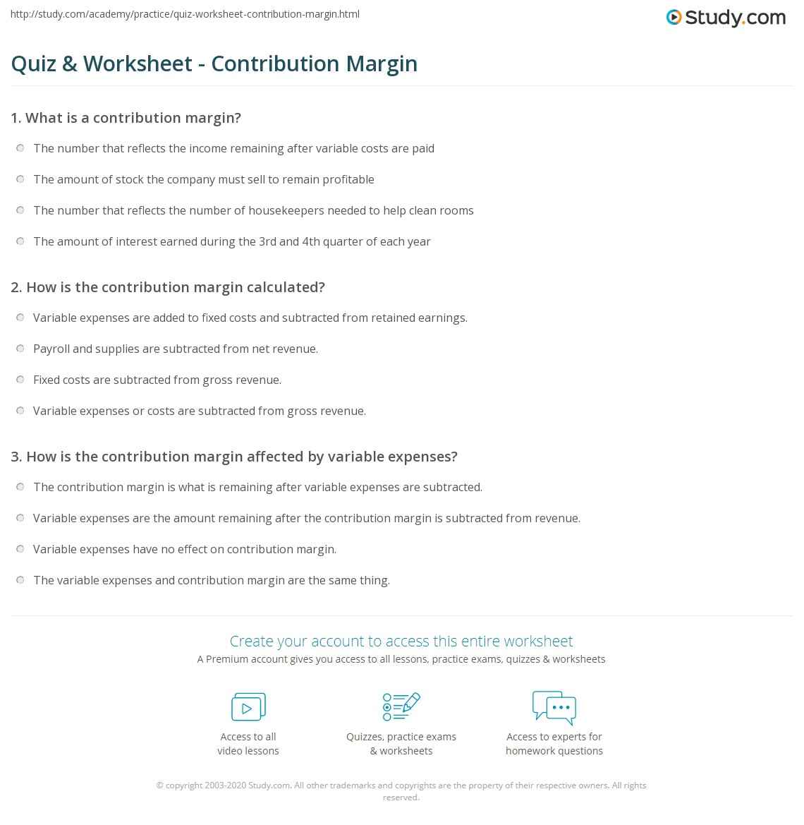quiz worksheet contribution margin