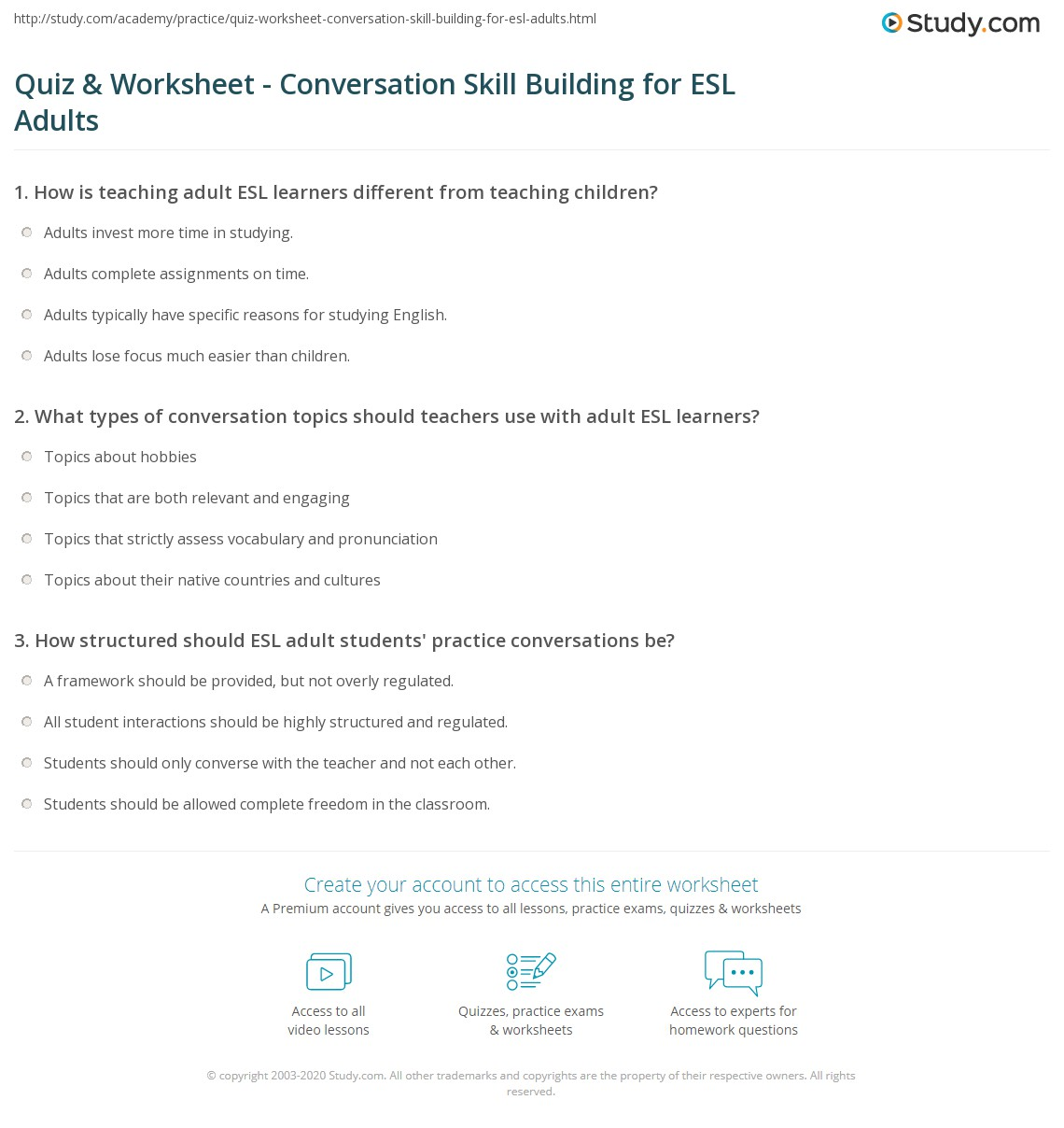 Quiz Worksheet Conversation Skill Building for ESL Adults – Esl Worksheets for Adults