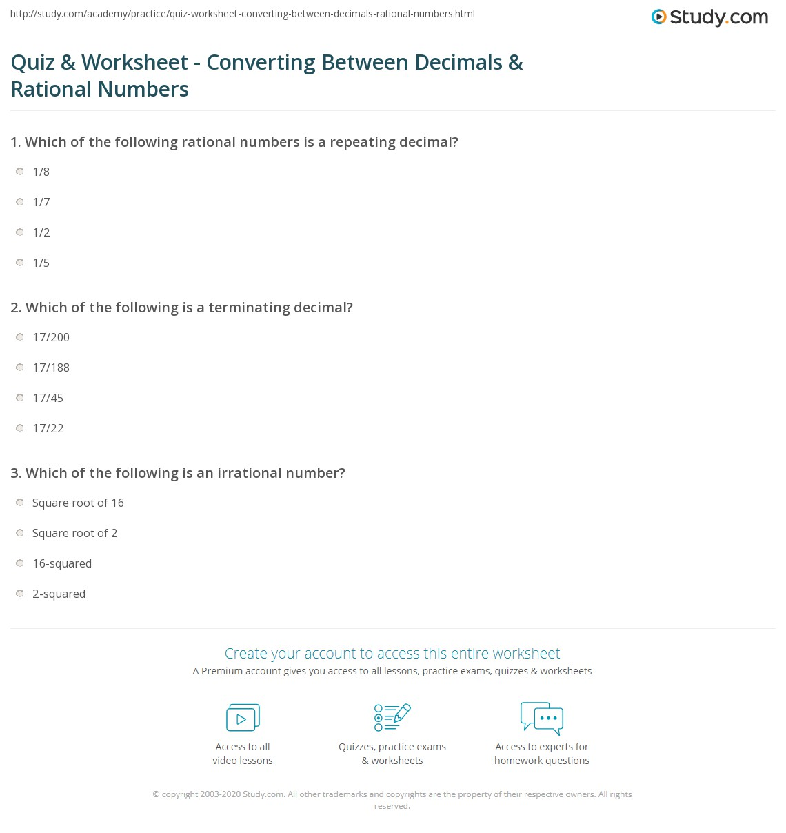 Quiz Worksheet Converting Between Decimals Rational Numbers – Rational and Irrational Numbers Worksheet