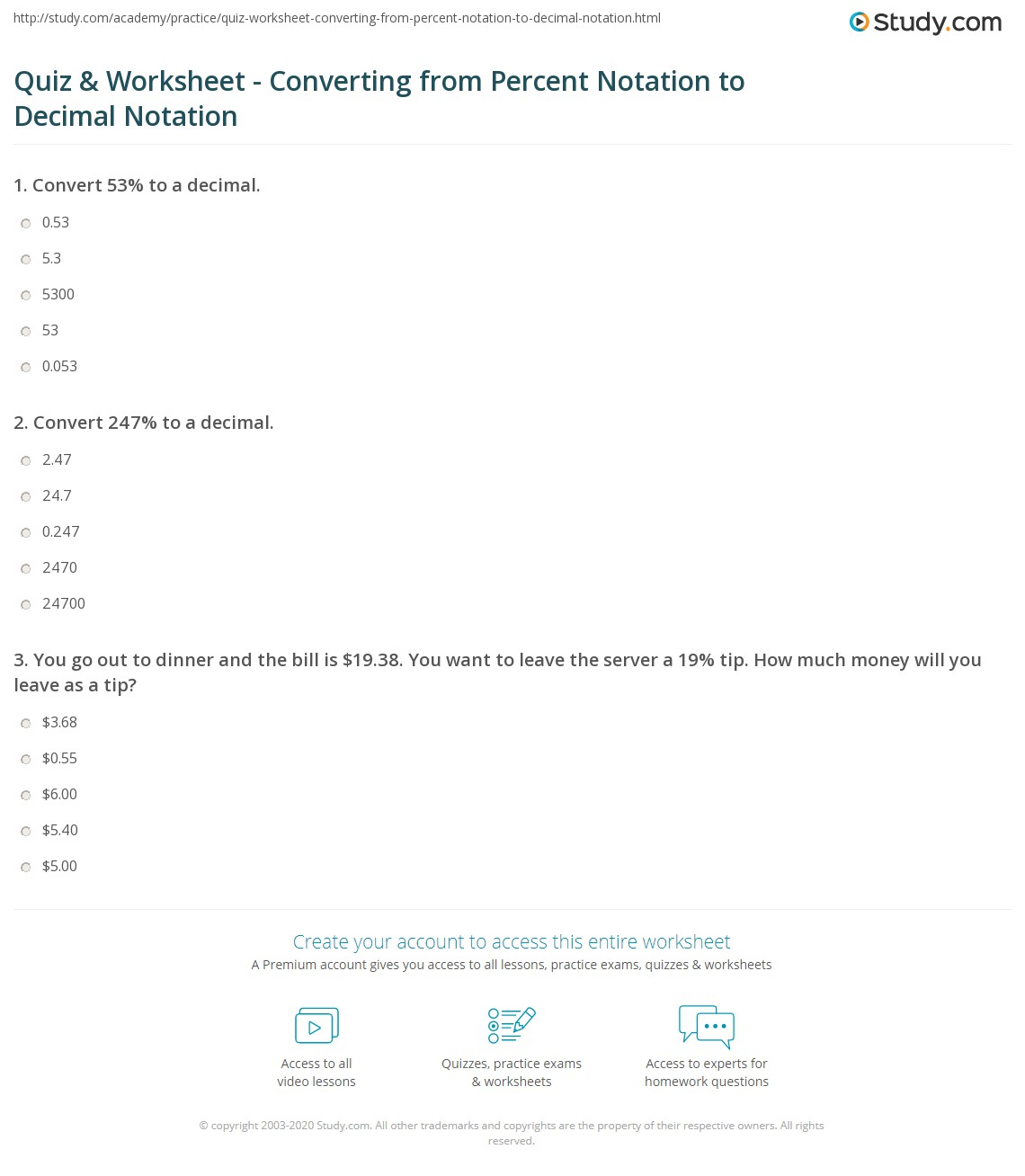 Quiz Worksheet Converting from Percent Notation to Decimal – Percent and Decimal Worksheets
