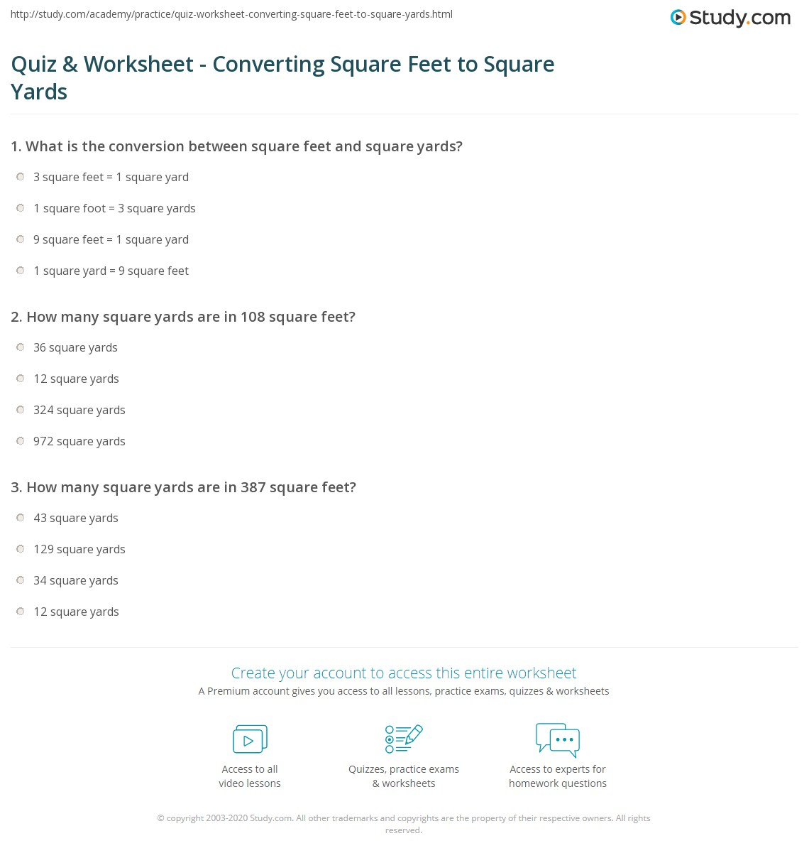 quiz worksheet converting square feet to square yards. Black Bedroom Furniture Sets. Home Design Ideas