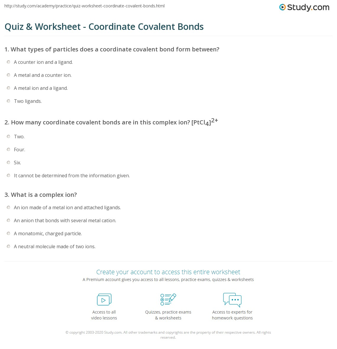 Quiz & Worksheet - Coordinate Covalent Bonds | Study.com