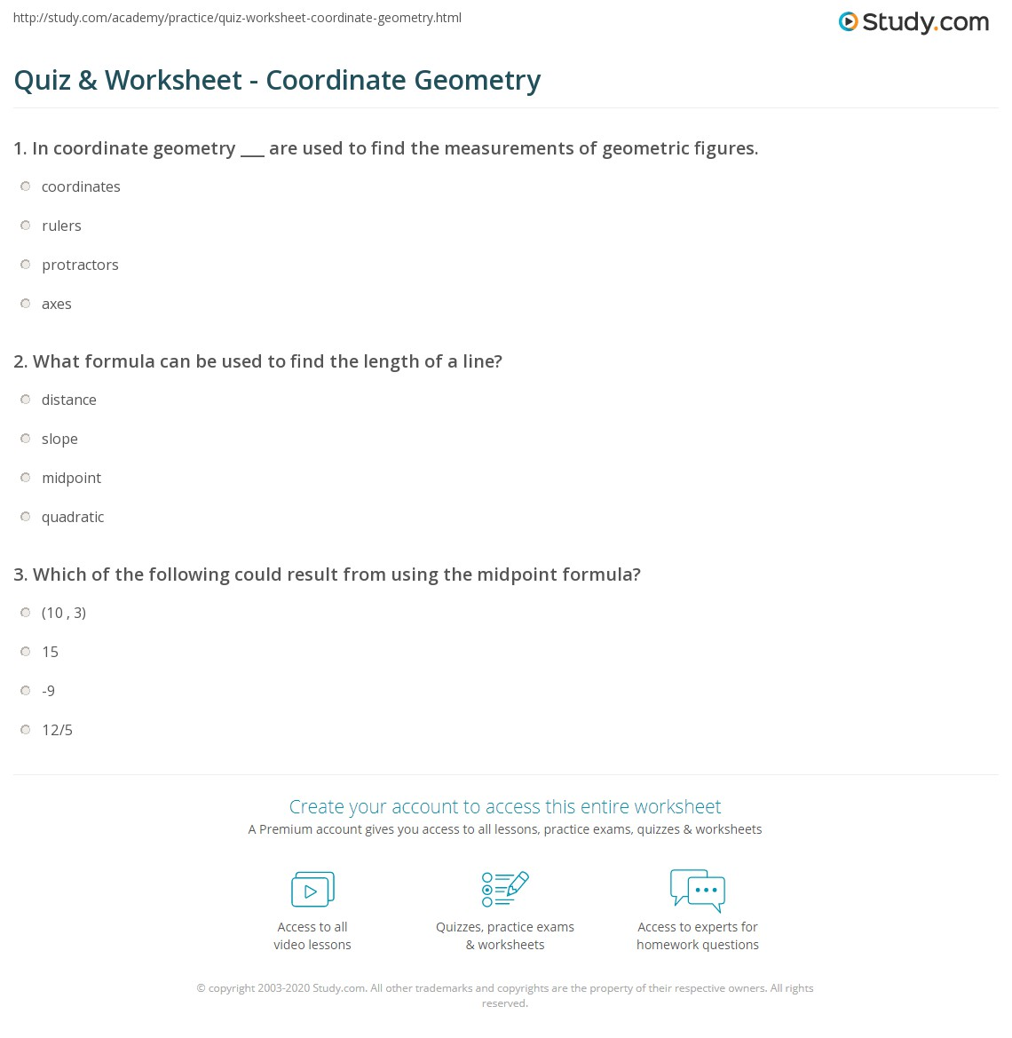 Quiz & Worksheet - Coordinate Geometry  Study.com printable worksheets, multiplication, education, and free worksheets Coordinate Art Worksheets 2 1418 x 1140