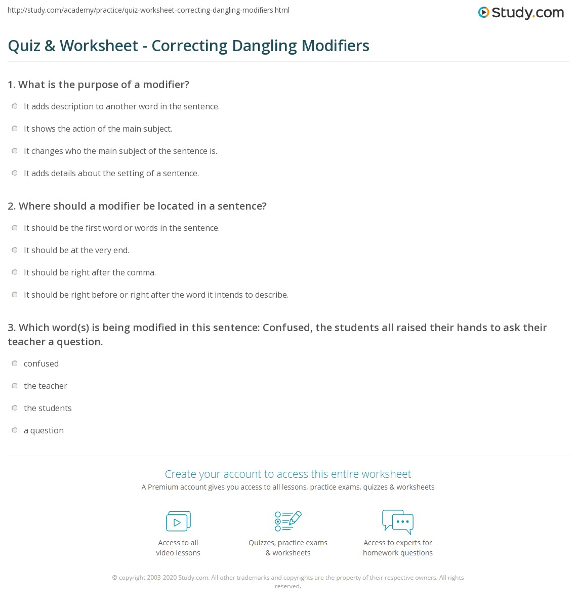 Printables Dangling Modifier Worksheet quiz worksheet correcting dangling modifiers study com print how to fix a modifier worksheet