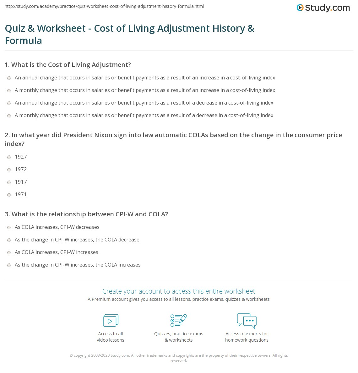 Quiz & Worksheet - Cost of Living Adjustment History & Formula ...