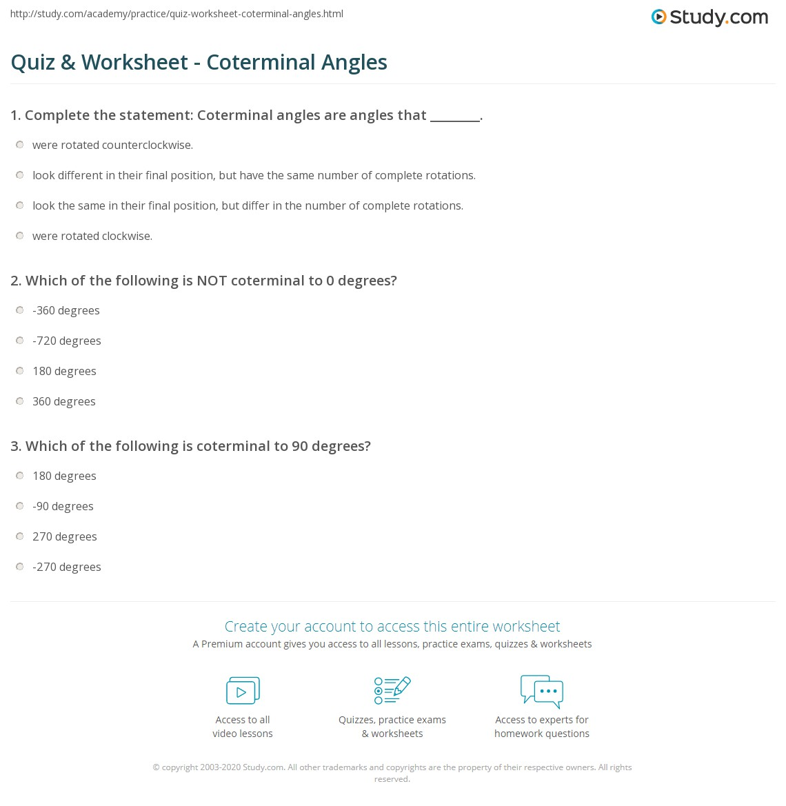 {Quiz Worksheet Coterminal Angles – Coterminal Angles Worksheet