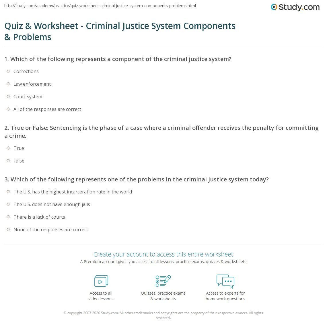 Worksheets Criminal Thinking Worksheets quiz worksheet criminal justice system components problems print what is the definition worksheet