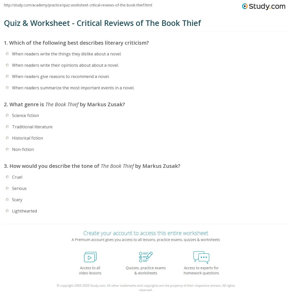 quiz worksheet critical reviews of the book thief com print literary criticism for the book thief worksheet