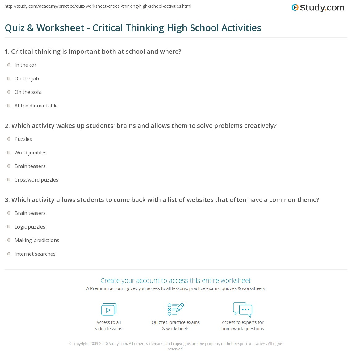 worksheet Critical Thinking Worksheet quiz worksheet critical thinking high school activities print for worksheet