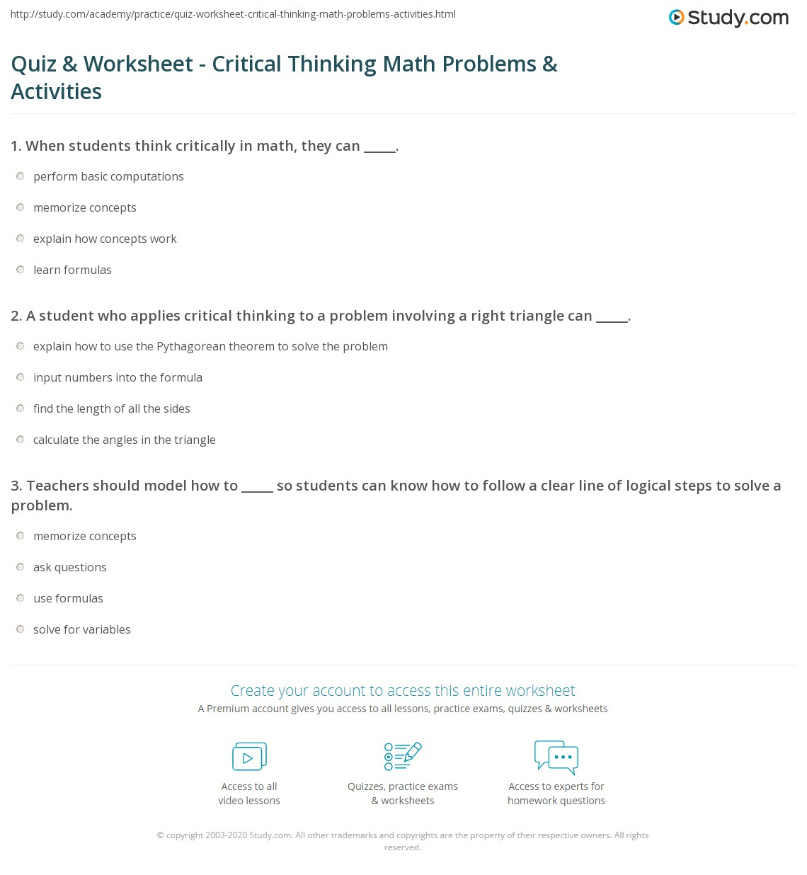 Quiz and Worksheet Critical Thinking Math Problems and Activities – Critical Thinking Math Worksheets
