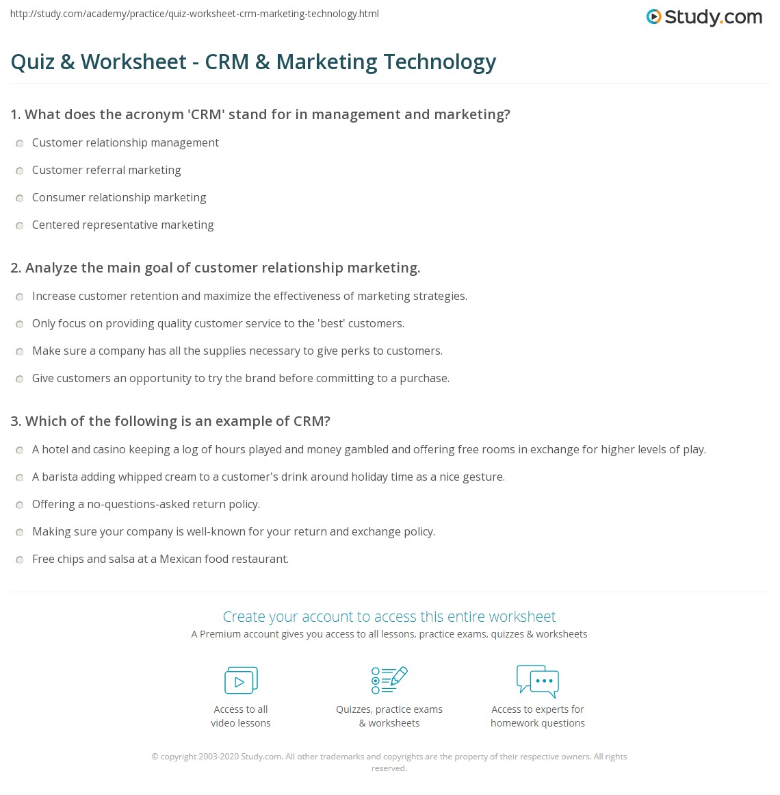 Quiz and Worksheet CRM and Marketing Technology – Crm Worksheet