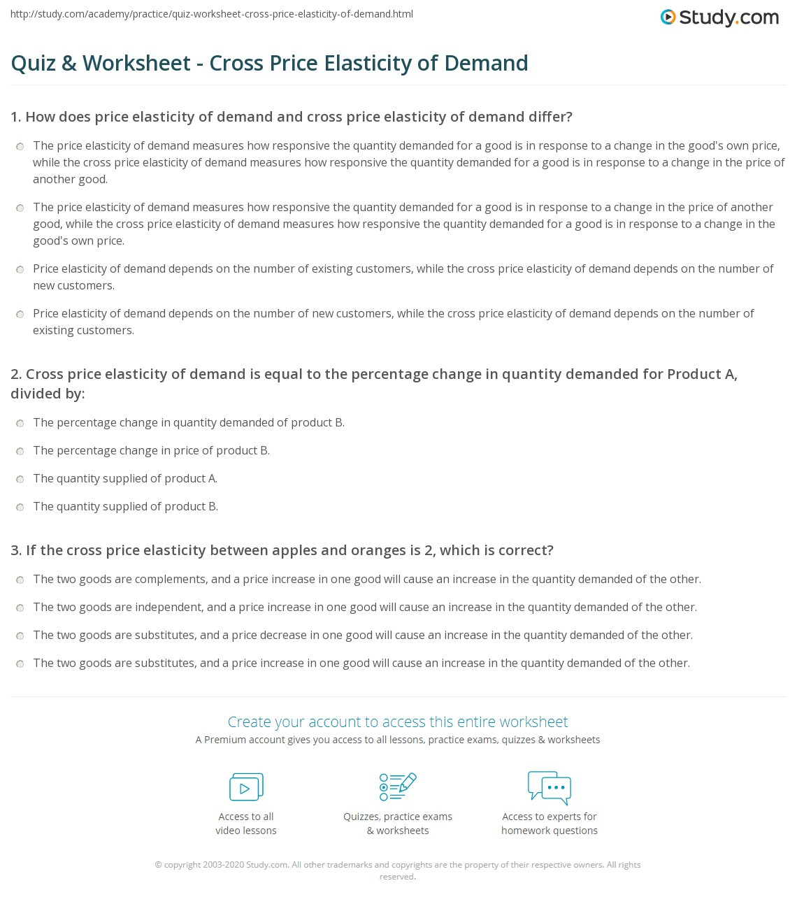 Quiz Worksheet Cross Price Elasticity of Demand – Elasticity of Demand Worksheet